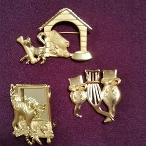 Jewelry - Vintage cat brooches